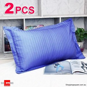 Cotton 2 pcs Pillow Case Cover 45 x 75 cm Blue Colour