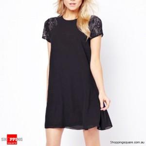 Women Short Lace Summer Chiffon Dress Size 12 Black Colour0