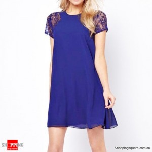 Women Short Lace Summer Chiffon Dress Size 8 Blue Colour