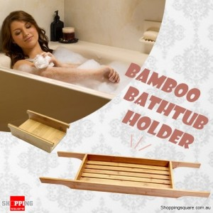 New Bamboo Bath Tub Caddy Holder Tray Holder + Bonus Removable Mobile Phone Tray