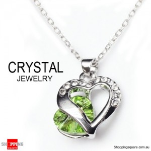 Fashion Jewelry Chain Crystal Pendant Necklace Green Colour