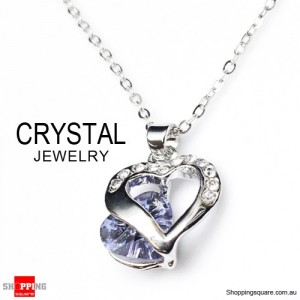 Fashion Jewelry Chain Crystal Pendant Necklace Purple Colour