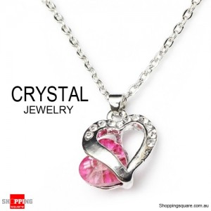 Fashion Jewelry Chain Crystal Pendant Necklace Pink Colour