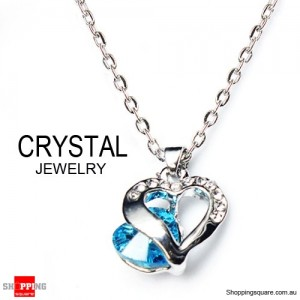 Fashion Jewelry Chain Crystal Pendant Necklace Blue Colour