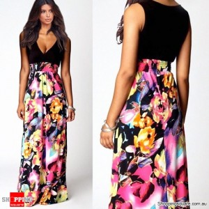 Summer Floral Women Sexy Party Long Dress Black Yellow Flower Colour Size 14