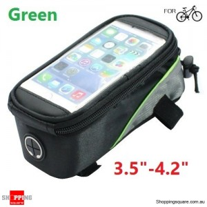 "Bicycle Pannier Front Tube Saddle Bag for 3.5"" - 4.2"" SmartPhone Green Colour"