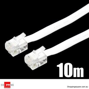 10M RJ11 Flat Extension Telephone Cable White Colour