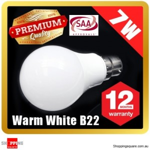 Premium LOYAL™ Super Bright 7W B22 Warm White LED Light Bulb Lamp 2700KHz 700LM SAA Approval