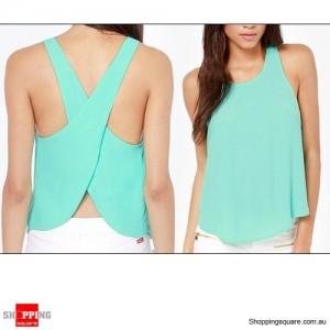 Womens Chiffon Sleeveless Blouse Sexy Summer Shirt Tops Size 16 Green Colour