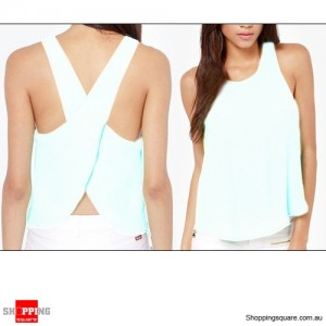 Womens Chiffon Sleeveless Blouse Sexy Summer Shirt Tops Size 16 White Colour