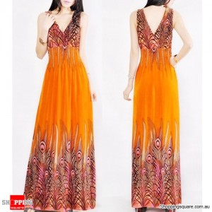 Summer Women Floral Dress V-neck Cocktail Long Dress Size 12 Orange Colour