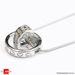 Heart Ring Crystal Rhinestone Love Pendant Necklace Gift Silver Colour