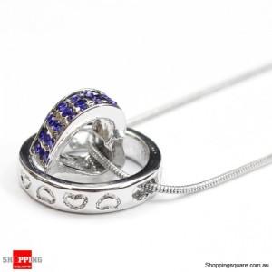 Heart Ring Crystal Rhinestone Love Pendant Necklace Gift Blue Colour