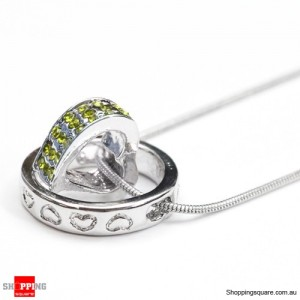 Heart Ring Crystal Rhinestone Love Pendant Necklace Gift Yellow Colour