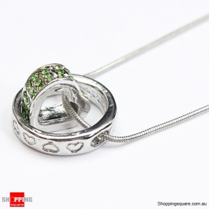 Heart Ring Crystal Rhinestone Love Pendant Necklace Gift Green Colour