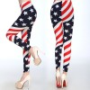Women USA Flag Printed Slim Skinny Leggings