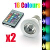 2 PCS LED Light Bulb B22 3W 85V-265V 16 colour with Remote Control