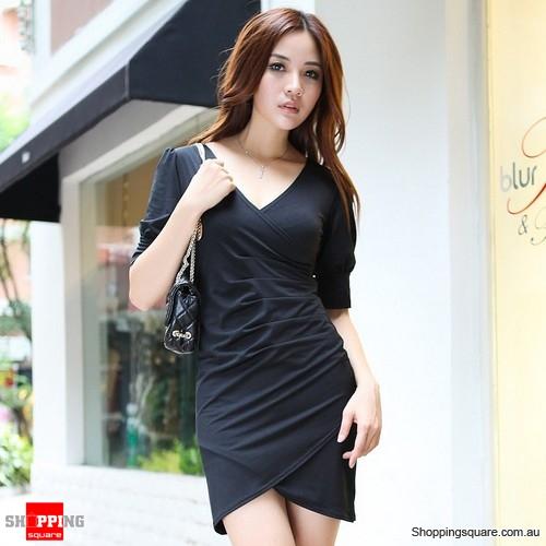 Women V Neck 3/4 Length Pencil Dress Size 8 Black Colour - Online ...