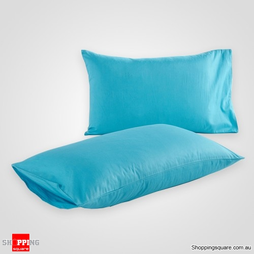 100 cotton 2 pcs pillow case cover 50x75 cm light blue silk colour online shopping shopping. Black Bedroom Furniture Sets. Home Design Ideas