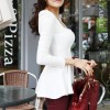 Women's Vintage Square Neck Puff sleeve Peplum slim T-shirt White Colour