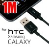 1m USB to Micro USB Charging Data Cable Black for Samsung Galaxy, HTC , MP3, MP4