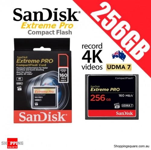 SanDisk Extreme Pro Compact Flash 256GB Memory Card 160MB/s for 4K Full HD DSLR Digital Cam