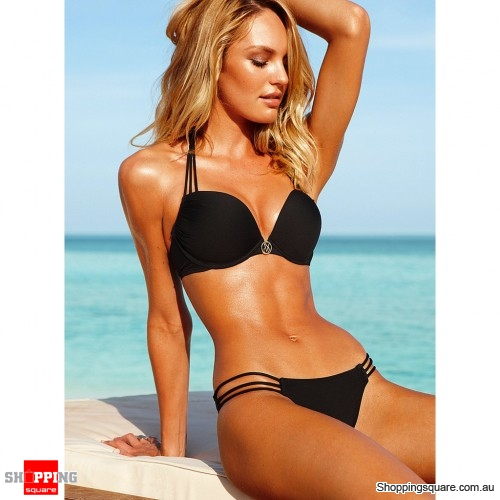 Sexy women padded push up swimwear bikini three rope size 8 black