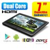 7inch Dual Core HDMI Android 4.1.1 Tablet PC 4GB WiFi - Support MicroSDHC Up to 32GB