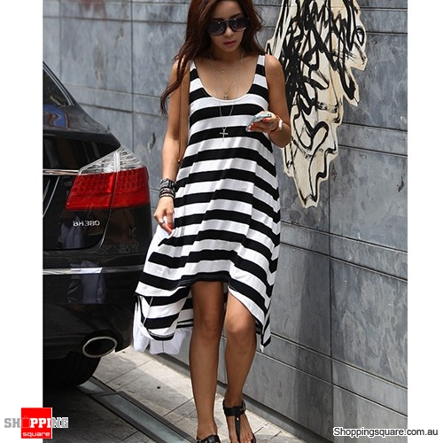 Summer Casual Elegant Sexy Stripe Irregular Beach Long Dress Black ...