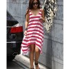 Summer Casual Elegant Sexy Stripe Irregular Beach Long Dress Red Colour