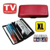 Extra Large Credit Card Wallet Holder Aluminum Metal Pocket Case Box Red Colour