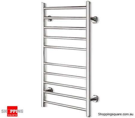 100W Heated Towel Rail Wall Mounted 10 Bar Electrical Rack Online Shoppin