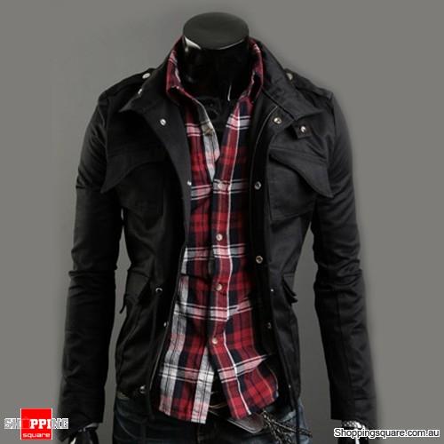 Men Casual Jacket Military Jacket coat Black Colour Size 8
