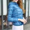 Down Jacket Hooded Women Size 12 Blue Colour