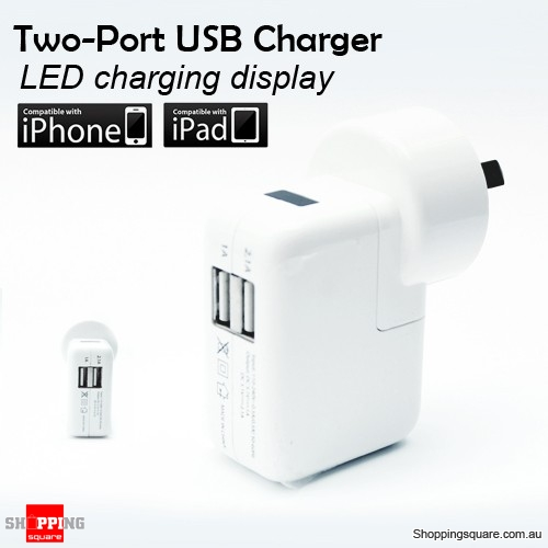 Dual Ports USB Charger for Apple Iphone, iPad, Samsung Galaxy, Mobile Phone
