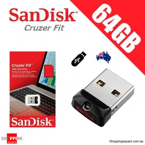 SanDisk 64GB Cruzer Fit CZ33 USB2.0 FLASH DRIVE