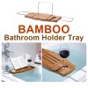 NEW Bathroom Bamboo Bath Tub Caddy Holder Tray Holds Soap, Wine Glass and Book