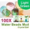 100X Water Beads Mud Grow Pearl Shaped Crystal Soil Ball Light Green Colour