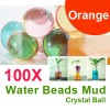 100 X Water Beads Mud Grow Pearl Shaped Crystal Soil Ball Orange Colour