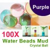100 X Water Beads Mud Grow Pearl Shaped Crystal Soil Ball Purple Colour