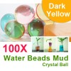 100 X Water Beads Mud Grow Pearl Shaped Crystal Soil Ball Dark Yellow Colour