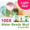 100 X Water Beads Mud Grow Pearl Shaped Crystal Soil Ball Light Red Colour