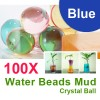 100 X Water Beads Mud Grow Pearl Shaped Crystal Soil Ball Blue Colour