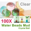 100 X Water Beads Mud Grow Pearl Shaped Crystal Soil Ball Clear Colour