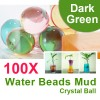 100 X Water Beads Mud Grow Pearl Shaped Crystal Soil Ball Dark Green Colour