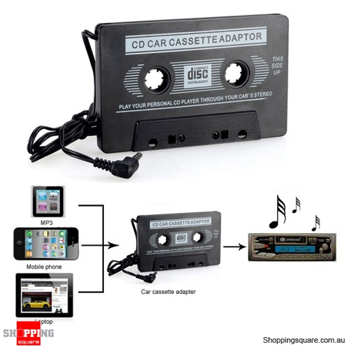 Car Tape Cassette to 3.5mm AUX Audio Adapter for iPhone iPad Samsung Android MP3 MP4 Player Black Colour