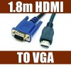 1.8m HDMI Male to VGA 15Pin Male Adapter Cable for HDTV DVD Cemera Projecter