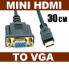 30cm Mini HDMI Male to VGA 15Pin Female Adapter Cable for HDTV DVD Cemera Projecter