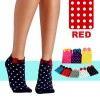 Women Cute Cotton Polka Dot with Bowtie Socks Rose Red Colour