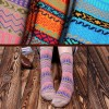 Women Casual Ankle Cotton Striped Socks Beige Colour